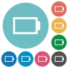 Flat empty battery icons - Flat empty battery icon set on round color background. 8 color variations included with light teme.