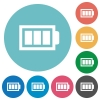 Flat full battery icons - Flat full battery icon set on round color background. 8 color variations included with light teme.