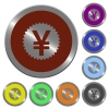 Set of glossy coin-like color yen stricker buttons. - Color yen sticker buttons