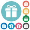 Flat gift icons - Flat gift icon set on round color background.