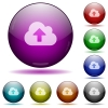 Cloud upload glass sphere buttons - Set of color cloud upload glass sphere buttons with shadows.