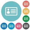 Flat ID card icons - Flat ID card icon set on round color background.