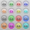 Cloud upload plastic sunk buttons - Set of cloud upload plastic sunk spherical buttons.