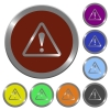 Color warning buttons - Set of glossy coin-like color warning buttons.