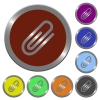 Color attachment buttons - Set of glossy coin-like color attachment buttons.