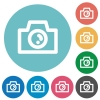 Flat camera icons - Flat camera icon set on round color background.
