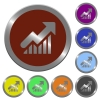 Color rising graph buttons - Set of glossy coin-like color rising graph buttons.