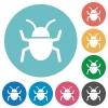 Flat bug icons - Flat bug icon set on round color background.