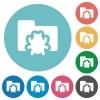 Flat bug folder icons - Flat bug folder icon set on round color background.