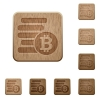 Bitcoins wooden buttons - Set of carved wooden bitcoins buttons in 8 variations.