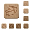 Credit card wooden buttons - Set of carved wooden credit card buttons in 8 variations.