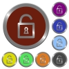 Color unlocked padlock buttons - Set of glossy coin-like color unlocked padlock buttons.