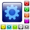 Color settings square buttons - Set of settings color glass rounded square buttons