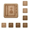 Contacts wooden buttons - Set of carved wooden contacts buttons in 8 variations.