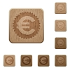 Euro sticker wooden buttons - Set of carved wooden Euro sticker buttons in 8 variations.