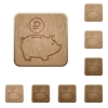 Ruble piggy bank wooden buttons - Set of carved wooden Ruble piggy bank buttons in 8 variations.