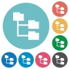 Flat folder structure icons - Flat folder structure icon set on round color background.