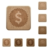 Dollar sticker wooden buttons - Set of carved wooden Dollar sticker buttons in 8 variations.