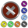 Color cancel buttons - Set of glossy coin-like color cancel buttons.