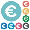 Flat euro sign icons - Flat euro sign icon set on round color background.
