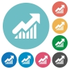 Flat rising graph icons - Flat rising graph icon set on round color background.