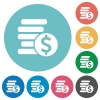 Flat dollar coins icons - Flat dollar coins icon set on round color background.