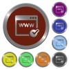 Color domain registration buttons - Set of glossy coin-like color domain registration buttons.