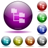 Set of color Folder structure glass sphere buttons with shadows. - Folder structure glass sphere buttons