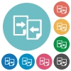Flat share documents  icon set on round color background. - Flat share documents icons