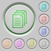 Set of color documents sunk push buttons. - Documents push buttons
