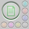 Set of color document sunk push buttons. - Document push buttons