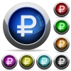 Ruble sign button set - Set of round glossy Ruble sign buttons. Arranged layer structure.