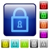 Color locked padlock square buttons - Set of locked padlock color glass rounded square buttons