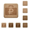Ruble bag wooden buttons - Set of carved wooden Ruble bag buttons in 8 variations.