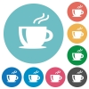 Flat coffee icons - Flat coffee icon set on round color background.