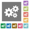 Gears square flat icons  - Gears flat icon set on color square background.