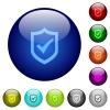 Color active shield glass buttons - Set of color active shield glass web buttons.