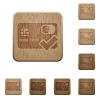 Accept credit card wooden buttons - Set of carved wooden Accept credit card buttons in 8 variations.