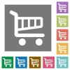 Shopping cart square flat icons - Shopping cart flat icon set on color square background.