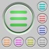 Set of color menu sunk push buttons. - Menu push buttons