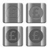 Metal pound sticker buttons - Set of pound sticker buttons vector in brushed metal style.