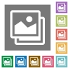 Images square flat icons - Images flat icon set on color square background.