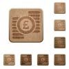 Pound coins wooden buttons - Set of carved wooden Pound coins buttons in 8 variations.