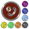 Color money call buttons - Set of glossy coin-like color money call buttons.