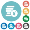 Flat yen coins icon set on round color background. - Flat yen coins icons