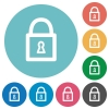 Flat locked padlock icons - Flat locked padlock icon set on round color background.