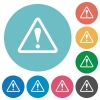 Flat warning icons - Flat warning icon set on round color background.