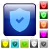 Color active security square buttons - Set of active security color glass rounded square buttons