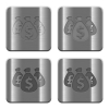 Metal money bags buttons - Set of money bags buttons vector in brushed metal style.