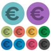 Color euro sign flat icons - Color euro sign flat icon set on round background.